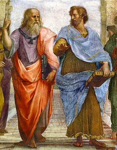 Close-up of Raphael's 1510 painting</br> <i>The School of Athens</i>